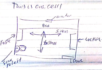 "Image shows a diagram with the title ""This is our cell"" and depicts a [diagram of rectangular cell, 5 steps by 6 steps, with window, bed, table, sink, toilet, locker, and door drawn]"